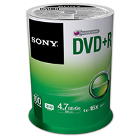 Sony DVD+R 16x 4.7GB/120 Minute Disc 100 Pack Spindle
