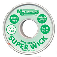 "MG Chemicals Fine Braid Super Solder Wick - 50'x0.075"" #3 Green"