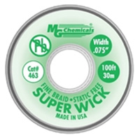 "MG Chemicals Fine Braid Super Solder Wick - 100'x0.075"" #3 Green"