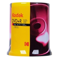 Kodak DVD+R 16x 4.7MB/120 Minute Disc - 100 Pack with Cake Box