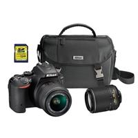Nikon D5500 24.2 Megapixel Digital SLR Camera with 18-55mm and 55-200mm Lenses - Black