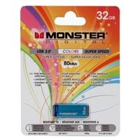 Monster Digital USBCL-0032-C 32B Super Speed USB 3.0 USB Flash Drive BLUE
