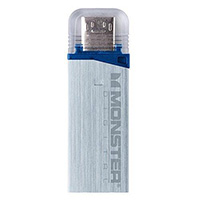 Monster Digital USBOM-0064-A 64GB USB 3.0 Mobile OTG Flash Drive Silver
