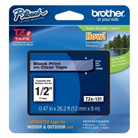 "Brother TZe-131 12mm (0.47"") Black on Clear tape for P-Touch 8m (26.2 ft)"