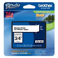 "Brother TZe241 18mm (0.7"") Black on White tape for P-Touch 8m (26.2 ft)"