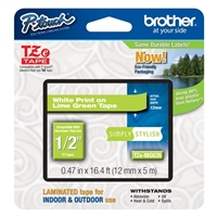 "Brother TZeMQG35 12mm (0.47"") White on Lime Green tape for P-touch 5m (16.4 ft)"