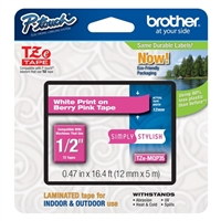 "Brother TZeMQP35 12mm (0.47"") White on Berry Pink tape for P-touch 5m (16.4 ft)"