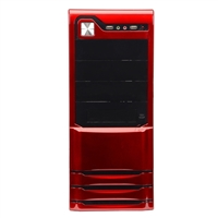 Logisys 10-Bay ATX Mid-Tower Windowed Computer Case w/ 480W PSU - Red/Black