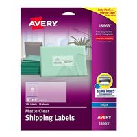 "Avery 18663 Easy Peel Clear Shipping Labels for Inkjet Printers 2"" x 4"" 100 Pack"