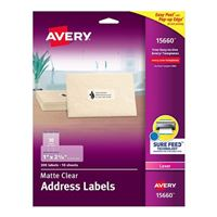 "Avery 15660 Easy Peel Clear Address Labels for Laser Printers 1' x 2-5/8"" 300 Pack"