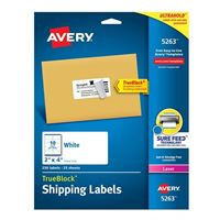 "Avery White Shipping Labels with TrueBlock Technology for Laser Printers 2"" x 4"" 250 Pack"