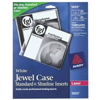 Avery White Jewel Case Standard and Slimline Inserts - 20 Pack