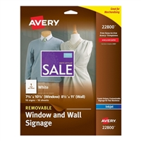 Avery Removable Window and Wall Signage for Inkjet Printers 10 Pack