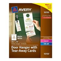 "Avery 16150 Door Hanger with Tear-Away Cards Matte White 4-1/4"" x 11"" 80 Pack"