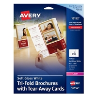 "Avery Tri-Fold Brochure with Tear-Away Cards Soft Gloss White 8-1/2"" x 11"" 50 Pack"