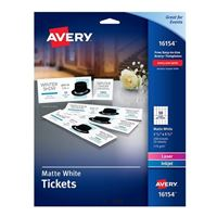 "Avery 16154 Tickets with Tear-Away Stubs Matte White 1-3/4"" x 5-1/2"" 200 Pack"