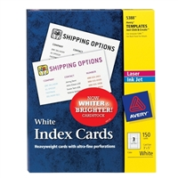 "Avery 5388 Index Cards 3"" x 5"" White Uncoated 150 Pack"