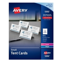 "Avery 5302 Small Tent Cards 2"" x 3-1/2"" White 160 Pack"
