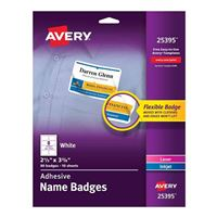 "Avery White Adhesive Name Badges 2-1/3"" x 3-3/8"" 80 Pack"