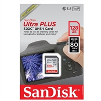 SanDisk 128GB Ultra Plus SDXC Class 10 / UHS-1 Flash Memory Card