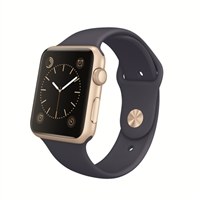 Apple 42mm Gold Aluminum Case Apple Watch with Midnight Blue Sport Band