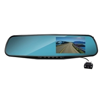 Coby Electronics Rearview Mirror Dual Camera Front and Backup with DVR