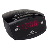 "SXE LED Dual Alarm Digital AM/FM Clock Radio, 0.6"" SXE86001 - Black"