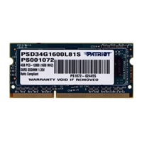 Patriot 4GB DDR3-1600 PC3-12800 CL11 Notebook Memory Module