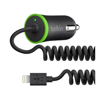 Belkin Car Charger w/ Coiled Lightning Cable (12 Watts/2.4 AMP)