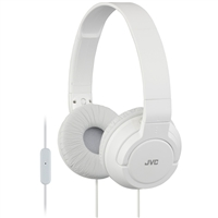 JVC Lightweight On-Ear Headphones w/ Mic - White