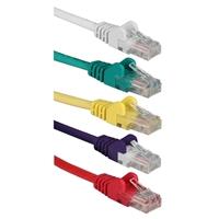 QVS 0.5 ft. 350MHz CAT5e/Ethernet Flexible Snagless Multi-Color Patch Cords (5-Packs)