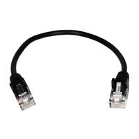 QVS 0.5 ft. 350MHz CAT5e/Ethernet Flexible Snagless Patch Cords - Black (5-Pack)