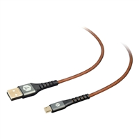Tough Tested 8 Ft. PRO Armor Weave with Slim Tip Micro USB Cable - Brown