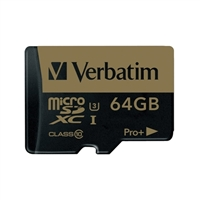 Verbatim 64GB Pro Plus microSDHC Class 10 / UHS-1 Memory Card with Adapter