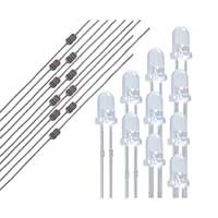 NTE Electronics LED 3MM Blue Water Clear Lens 1500MCD & 1/8W 220 OHM Resistor - 25 Piece