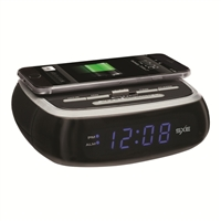 SXE Electronics Wireless Phone Charging Digital Alarm Clock