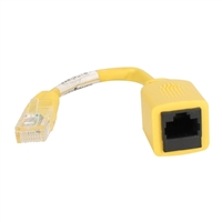 QVS 6 in. CAT5e RJ45 PortSaver Crossover Patch Cord - Yellow