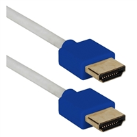 QVS 3 ft. High Speed 4K Thin Flexible HDMI Cable w/ Ethernet - Blue/White