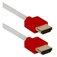 QVS 3 ft. High Speed 4K Thin Flexible HDMI Cable w/ Ethernet - Red/White
