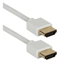 QVS 10 ft. High Speed Flexible Thin 4K HDMI Cable w/ Ethernet - White