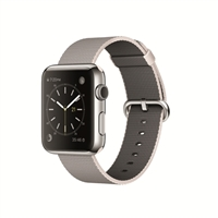 Apple Watch 42mm Stainless Steel Smartwatch - Pearl Woven Nylon Band