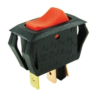 NTE Electronics Miniature Snap-In Nylon Illuminated Rocker - Red Switch