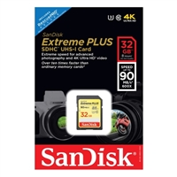SanDisk 32GB Extreme Plus SDHC Class 10 / UHS-1 Flash Memory Card