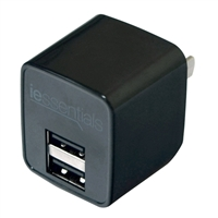 iEssentials 2.4 Amp Dual USB Wall Charger Black