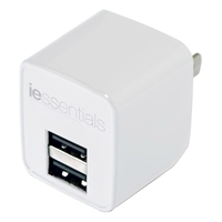 iEssentials 2.4 Amp Dual USB Wall Charger White