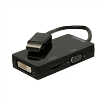 Inland DisplayPort Male to DVI-D Female/ HDMI Female/ VGA Female Adapter