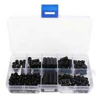 Banggood M3 Nylon Black M-F Hex Spacers Screw Nut Assortment Kit - 160 Pieces