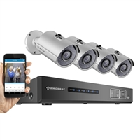 Amcrest 8 Channel NVR with 4 Indoor/Outdoor Bullet Cameras