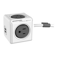 Allocacoc Corp PowerCube Extended 4-Outlets Surge Protector w/ 2 USB Ports - Gray
