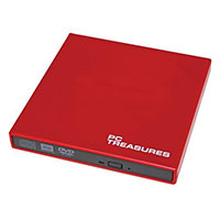 PC Treasures 8x USB 2.0 External DV RW Drive Red